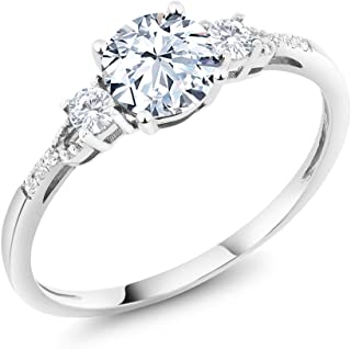 10K White Gold Hearts And Arrows White Created Sapphire and Diamond Accent 3-Stone Women's Engagement Ring (1.35 Cttw, Available 5,6,7,8,9)