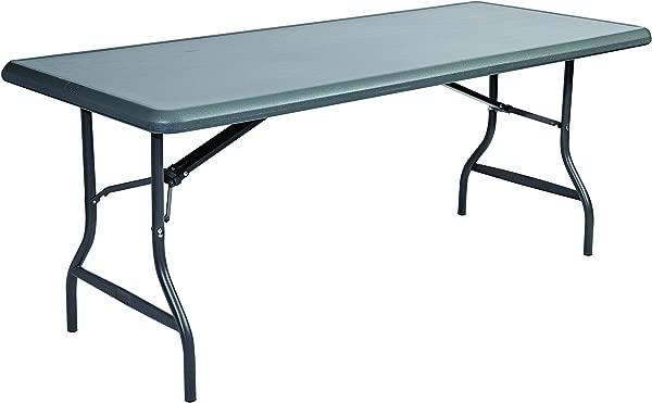 冰山冰山 65227 不可摧毁的太 1200 系列钢腿塑料折叠桌 2000 磅容量 72 长 X 30 宽 X 29 高木炭