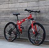GASLIKE Bicicleta de montaña Plegable de 26'para Hombres y Mujeres, Bicicleta de Doble suspensión Marco de Acero de Alto Carbono, Freno de Disco de Acero, llanta de aleación de Aluminio,Rojo,27 Speed