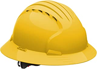 Evolution Deluxe 6161 280-EV6161-10 Full Brim Hard Hat with HDPE Shell, 6-Point Polyester Suspension and Wheel Ratchet Adjustment, Vented, Yellow