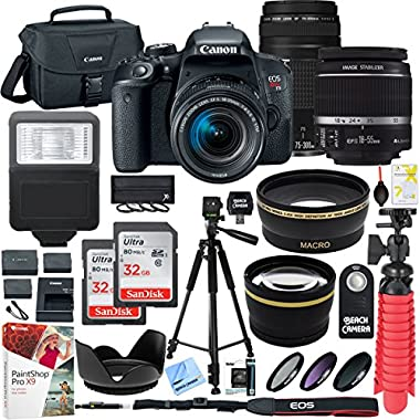 Canon EOS Rebel T7i DSLR Camera with EF-S 18-55mm IS STM & 75-300mm Lens + 2 x 32GB Ultra SDHC UHS Class 10 Memory Card + Accessory Bundle