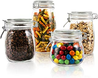 Household 4 Pieces/Set Airtight Canister Set with Lid Waterproof and Impermeable Storage Glass Jar 1.5L 1L 0.76L 0.5L Multi-Purpose Food Container