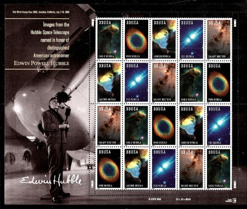 2000 Hubble Telescope Images 33 Cent Pane of 20 Postage Stamps Scott 3388a