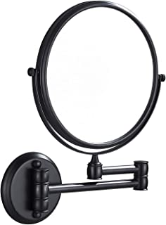 Rozin Wall Mounted Bathroom Folding Beauty Makeup Mirror Dual Sided with 3X Hairdressing Magnifer Black Color