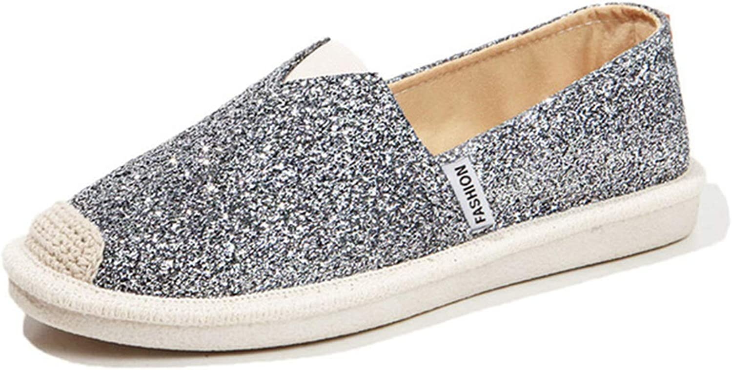 York Zhu Women Flats - Glitter Sequined Slip on Casual Fisherman Loafers shoes
