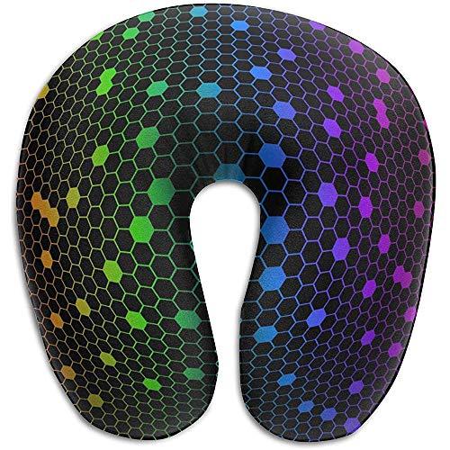 Farbige hexagonale Netto U-förmigen Nackenkissenbezug Memory Foam, einzigartige Reise Rest Kissen Schmerzen, atmungsaktiv weich komfortabel einstellbar