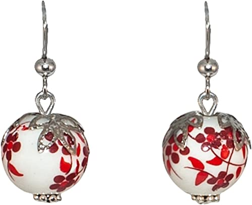 Créative Perles - Boucles d'oreilles Céramique Fleurie