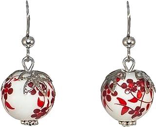 Boucles doreilles pendantes en argent sterling 925 avec fleur /à pois roses et blancs pour filles et adolescentes.