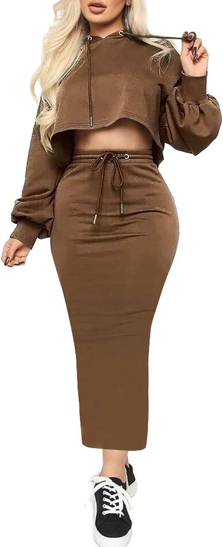 Women's 2 Piece Solid Color Hoodie Crop Top Pullover Matching Sweatsuit Long Sleeve Elastic Sweat Dress Suit Activewear
