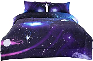 uxcell Full/Queen 3-Piece Galaxies Purple Comforter Sets - 3D Printed Space Themed - All-Season Down Alternative Quilted Duvet - Reversible Design - Includes 1 Comforter, 2 Pillow Shams