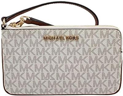 Michael Kors Jet Set Travel Large Top Zip Signature PVC Wristlet Clutch Vanilla