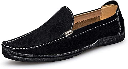 Herren Mokassins Schuhe, Herren Driving Loafers Handarbeit Suture Wildleder Echtes Leder Penny Boat Mokassins (Farbe   Blau, Größe   39 EU) (Farbe   Schwarz Größe   42 EU)