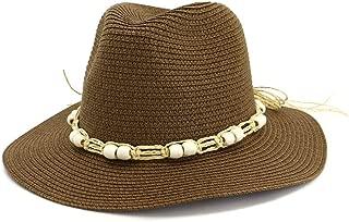 LiWen Zheng Straw Hat Lady Visor Hat White Jazz Hat Outdoor Seaside White Beads Decorative Straw Rope Sunscreen Beach Sun Hat Adjustable