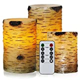 """Flameless Flickering Candles with Birch Bark Effect LED Candles 4"""" 5"""" 6"""" Set of 3 Battery Candles Real Wax Pillar with 10-key Remote Control - 2/4/6/8 Hours Timer"""