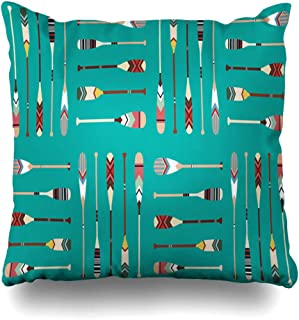 NOWCustom Throw Pillow Cover Vintage Lake Canoe Paddle Pattern Oar Drawing Indian Wooden Activity Boat Mint Zippered Pillowcase Square Size 20 x 20 Inches Home Decor Pillow Case