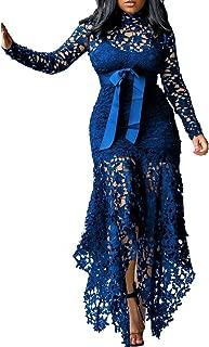 Hollow Floor-Length Lace-Up Asymmetrical Women's Maxi Dress Sexy Lace Dress Party Evening Dress