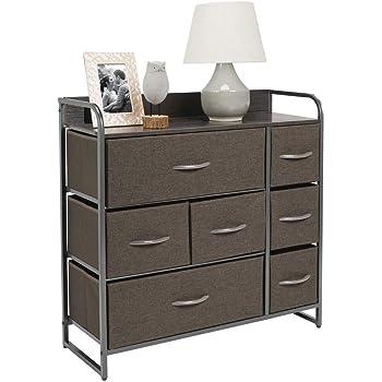 mDesign Cómoda para dormitorio con 7 cajones – Mueble con cajones ancho para el salón, la habitación o el pasillo – Cajonera de metal, MDF y tela para guardar ropa – gris: Amazon.es: Hogar