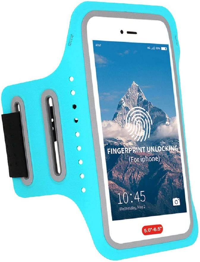 MOVOYEE Waterproof Running Armband Cell Phone Holder for iPhone 12 11 Pro MAX XS XR X 8 7 6S 6 Plus SE Galaxy LG,Fingerprint Touch ID&Key Pouch,Arm Band Sleeve for Excercise,Jogging,Workout 6.7 inch