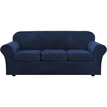 Modern Velvet Plush 4 Piece High Stretch Sofa Slipcover Strap Sofa Cover Furniture Protector Form Fit Luxury Thick Velvet Sofa Cover for 3 Cushion Couch, Machine Washable(Sofa,Navy)