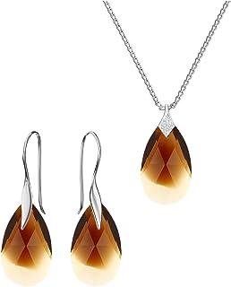 Beforya Paris - Many Colors - BO/1 Almond's Pear Shape from Swarovski - 925 Sterling Silver - Women's Jewellery Set - Jewellery Swarovski Elements with Bag and Gift Box PIO/72