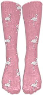 ulxjll, Rodilla Alta Calcetines Flamingo Stay Soft Compression Golf De Moda Tubo De Dibujos Animados Crew Calcetines Largos Viajes Medias Divertidas Niñas Niños Personalizados Rodilla Transpirable 50Cm