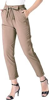 MAVIS LAVEN Womens Paper Bag Pants Trouser Tie Waist Cropped Ankle Pants with Pockets …