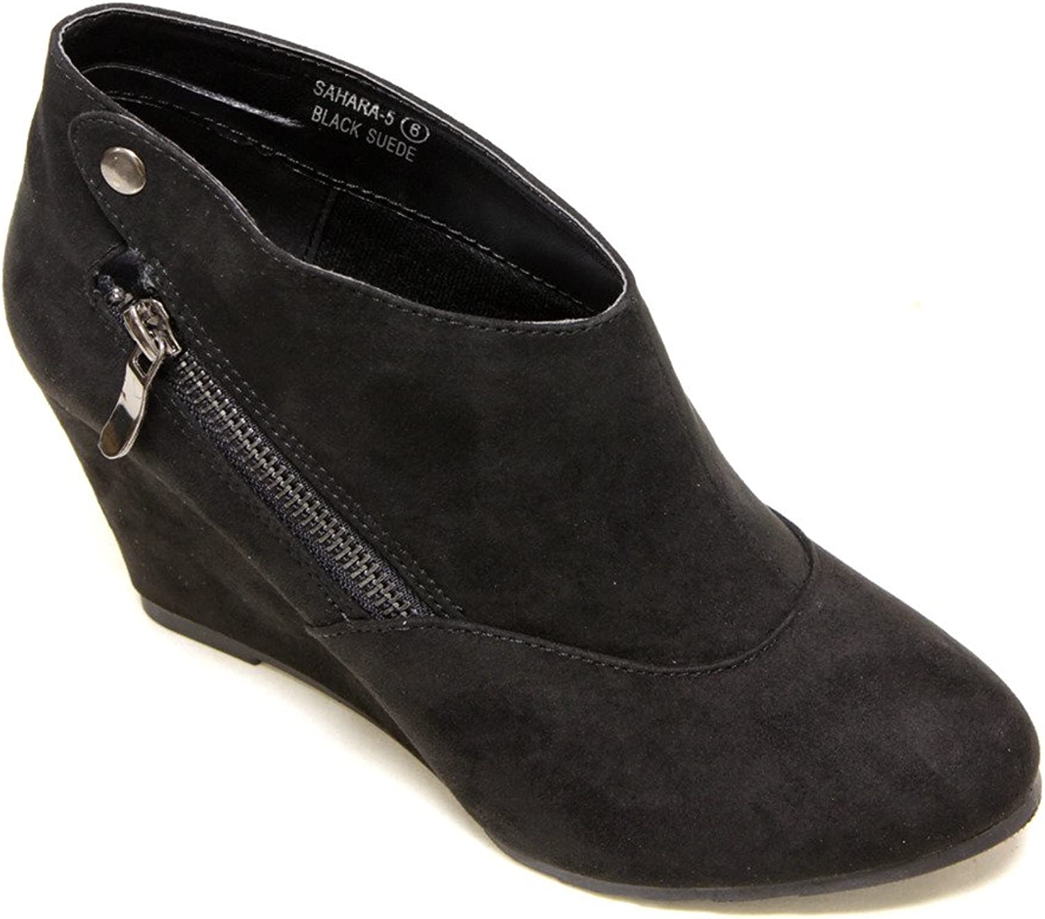 Bella Marie Sahara-5 Women's Almond Toe Wedge Heel Side Zipper And Snap Decor Low Ankle Suede Booties