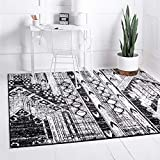 Rugs.com Oregon Collection Rug – 6 Ft Square Black and White Low-Pile Rug Perfect for Living Rooms, Kitchens, Entryways
