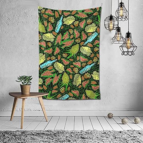 Patrón de neón tropical Mensaje en una botella Tapiz de pared Álbum de tapiz Arte para colgar en la pared 3D Decoración del hogar Tapices de ondas