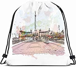 Ahawoso Gym Drawstring Bags Backpack String Bag 14X16 Colorful Architecture Famous View Budapest Capital Hungary Abstract Watercolor Artistic Bridge City Sport Sackpack Hiking Yoga Travel Beach