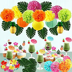Hawaiian Party Decorations Luau Party Decorations Flamingo Party Decor Tropical Party Decor Tropical Leaves Silk Hibiscus Flowers Tissue Pineapple Tissue Flower Cupcake Toppers Paper Cocktail Umbrella