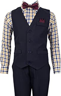 Vittorino Boys 4 Piece Suit Set with Vest Shirt Tie Pants and Hankerchief