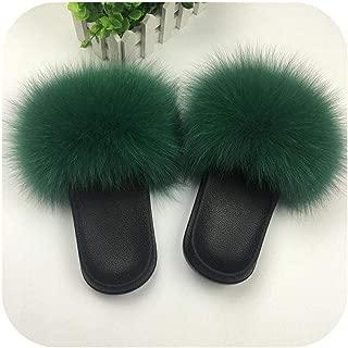 plage 2019 Women Furry Slippers Ladies Cute Plush Fluffy Sandals Women's Furry Slippers Winter Warm Slippers for Women-Fox Hair Green-9.5