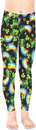 d3ecda77fc100 PattyCandy Little/Big Kids Tights Irish Lucky Shamrock Clover Leaves Pattern  Unisex Stretchy Leggings