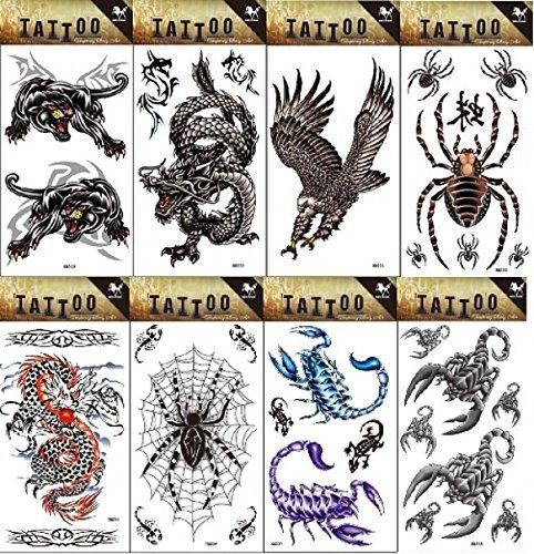 8pcs diversi durevoli e realistico Temp tatuaggio di design in 1pacchetto, tra cui Dragon, Leopard, Aquila e ragno tatuaggio Adesivi