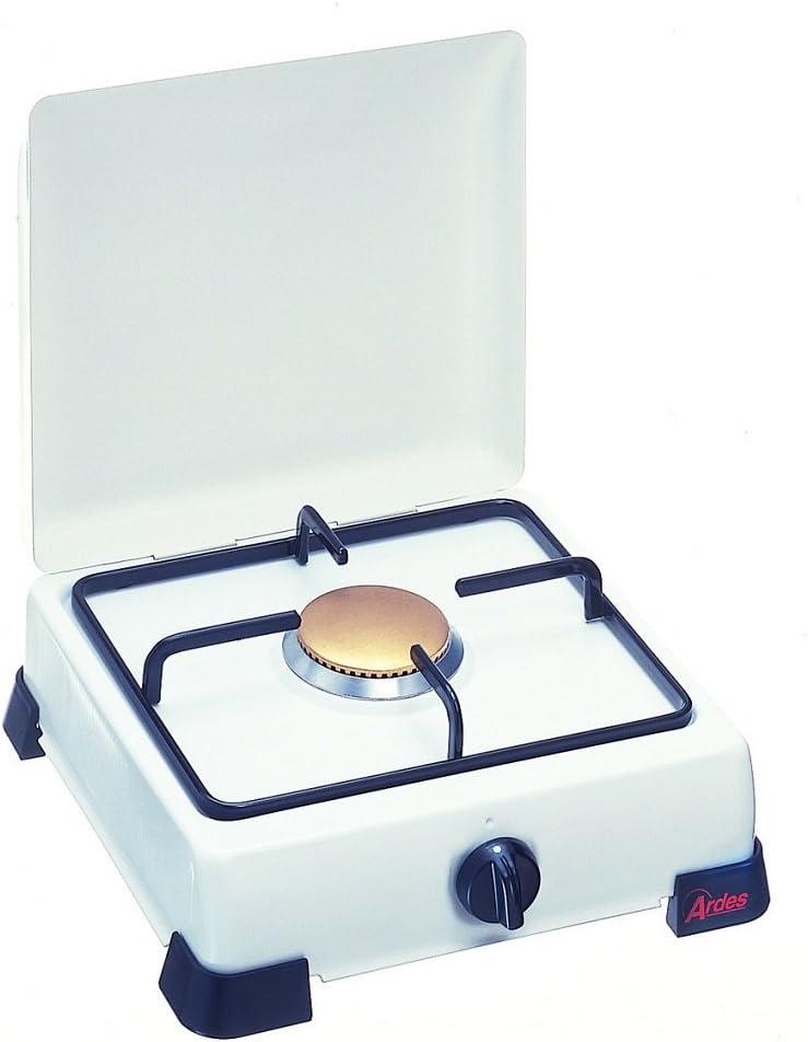 Ardes Hornillo Zeus esmaltado a gas metano con tapa y rejilla en plato esmaltado, patas de apoyo blanco 1 Fuoco Bianco
