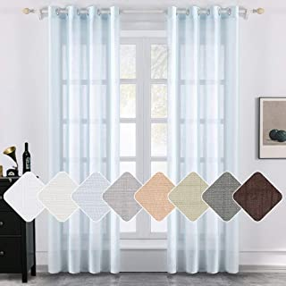 MIULEE 2 Panels Natural Linen Semi Sheer Window Curtains Elegant Solid Light Blue Drapes Grommet Top Window Voile Panels Linen Textured Panels for Bedroom Living Room (52X54 Inch)