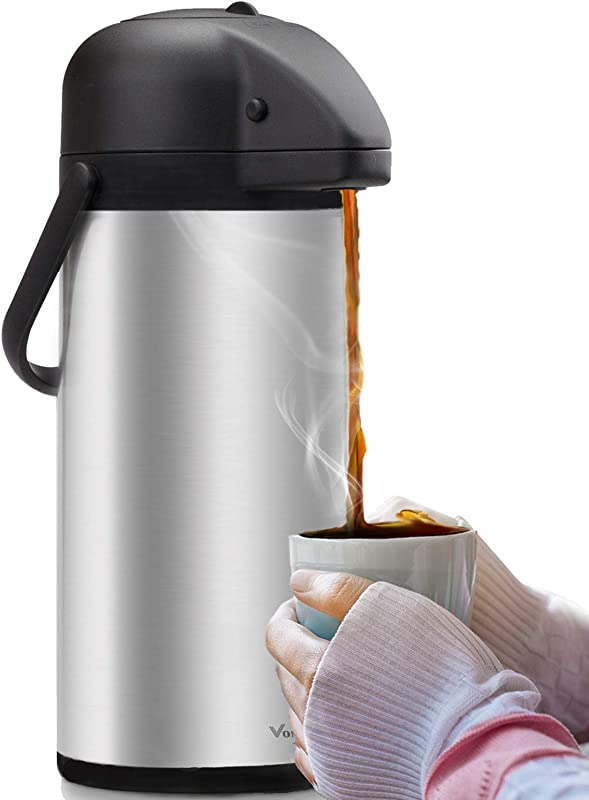 Airpot Coffee Carafe Thermal Beverage Dispenser 102 Oz By Vondior Insulated Stainless Steel Coffee Thermos Urn For Hot Cold Water Pump Action Airpot Party Chocolate Drink