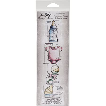 Stampers Anonymous Tim Holtz Mini Blueprints Strip Cling Rubber Stamps 3 by 10 Mariner