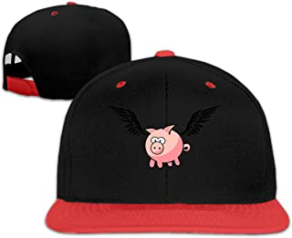 Flying Pig Kid's Sun Hip Hop Baseball Caps Boy Girls Red