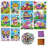 YuChiSX 12 Pièces Kit Artisanal de mosaïques collantes pour Enfants, Kits D'artisanat pour Filles, Autocollant à Pois Autocollant d'Art Photos de Mosaïque, DIY Mosaïque Artistique Outils pédagogiques