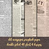 old newspaper scrapbook paper double sided 40 sheet 4 desgin: old fashion stationary paper DIY crafting - origami - decoupage - paper craft - collage ... - Decorative crafting Paper for Card Making