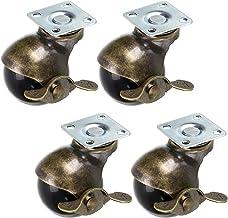 Skelang 4 Stks 50mm Ball Castor Wiel, Plaat Castor met Remmen, Antieke Plaat Swivel Caster voor Meubels, Stoel, Koffietafe...