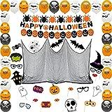 Juego decoraciones de Halloween, globo de Halloween, pancarta de Halloween, gasa de tela de araña negra, kit de accesorios para fotomatón de Halloween, accesorios para fotos de fiesta de Halloween