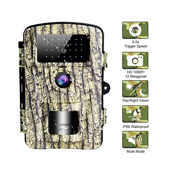 Wildlife Camera Trail Camera with 0.2s Trigger Speed Waterproof Wildlife Camera, Built-in Low Glow 940nm LEDs Hunting Camera for Night Vision and Home Security|12MP|65ft