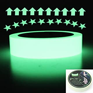 Hylaea Green Glow in The Dark Tape, 30 feet Length x 1 Inch Width, Removable Photoluminescent Luminous Tape Sticker, Wall Stairs Steps Glow in Dark Safety Duct Fluorescent Tape for Home, Office