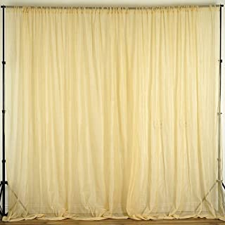 Efavormart 10FT Fire Retardant Champagne Sheer Voil Curtain Panel Backdrop for Window Wall Decoration - Premium Collection