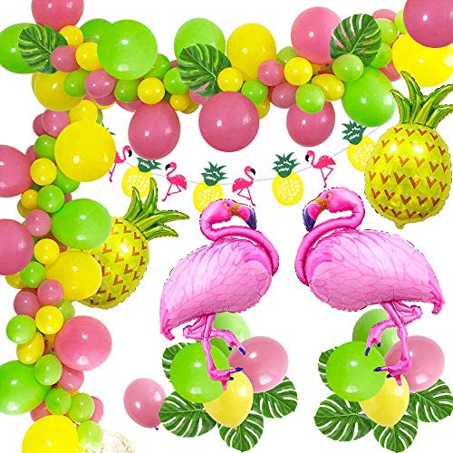 caicainiu Hawaiian Theme Tropical Balloons Garland Arch Set Includes Flamingo Pineapple Foil Balloons Paper Flowers Banner Artificial Tropical Palm Leaves Perfect for Hawaiian Party Decorations