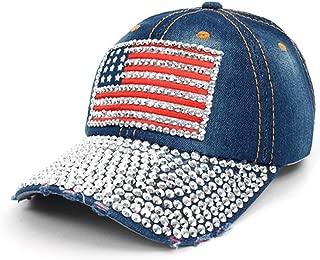 Crazy4Bling Dark Denim Fashion American Flag Rhinestone Faceted Crystal Studded Design Cap Hat