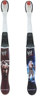 WWE John Cena, cm Punk, and Daniel Bryan Toothbrushes - 2 Pack - Assorted Styles and Colors, Wrestlers May Vary
